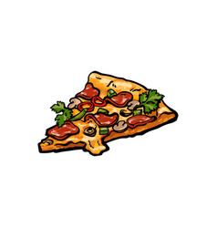 sketch pizza slice isolated vector image