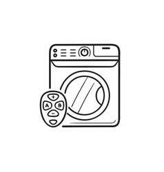 smart washing machine hand drawn outline doodle vector image