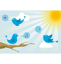 social media Twitter birds vector image