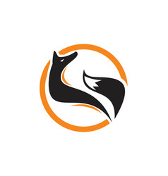 Stand fox extracted for look logo circle fox logo vector