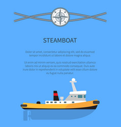 Steamboat poster text sample vector