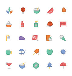 Summer Colored Icons 4 vector image