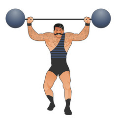 Tattooed and mustachioed strongman dressed in the vector