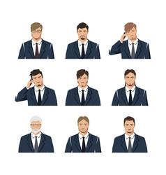 The young man in a suit a set with different vector