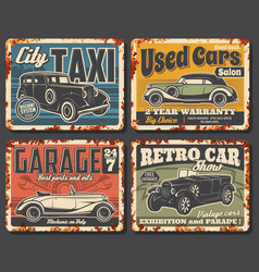 vintage and retro cars rusty plates vector image