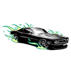 Vintage muscle car with flames a and fire around vector