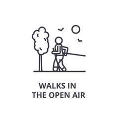 walks in the open air thin line icon sign symbol vector image