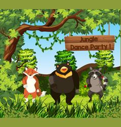 wild animals dance in jungle vector image
