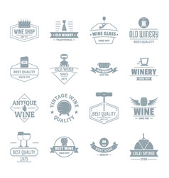 Wine logo icons set simple style vector