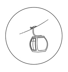 funicular icon in outline style isolated on white vector image vector image
