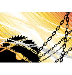 industrial background with chain and saw vector image vector image