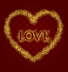love lettering with golden glittering frame in vector image