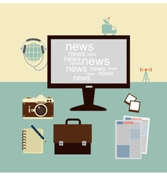 news from a journalist on the Computer vector image vector image