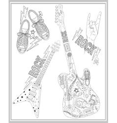 rock music design elements set vector image vector image