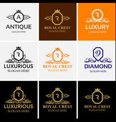 royal luxury heraldic crest logo set vector image vector image