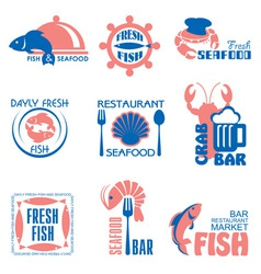seafood label vector image vector image