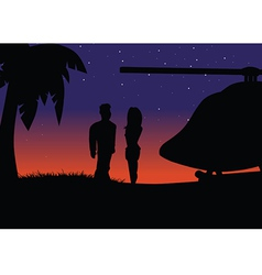 sunset silhouette helicopter vector image vector image