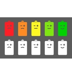 Battery level smiley icons vector