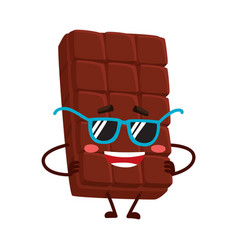 funny chocolate bar character in funky sunglasses vector image vector image