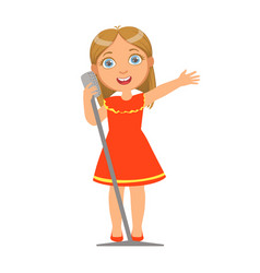 girl in red dress singing kid performing on stage vector image vector image