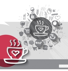 Hand drawn coffee icons with food icons background vector image vector image