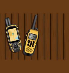 navigator and walkie-talkie vector image vector image