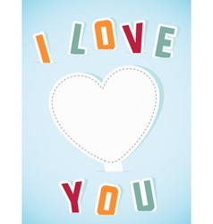 Paper heart banner with text I love you vector image