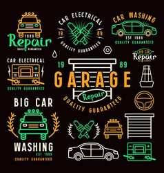 Set of car repair badges and design elements vector image vector image