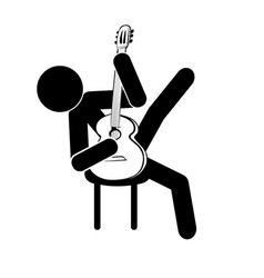 stick figure man sits and plays the classical vector image