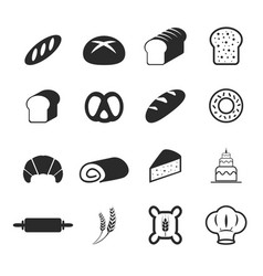 bakery bread icons vector image