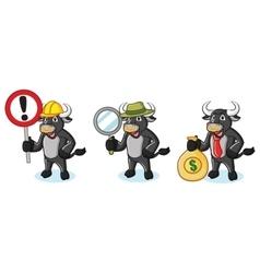 Bull Black Mascot with money vector image