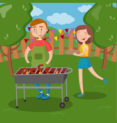 happy couple having outdoor barbecue young man vector image vector image