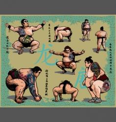 japanese sumo wrestlers vector image
