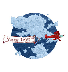 Vintage red biplane with banner vector
