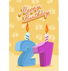 21 year Happy Birthday Card vector image vector image