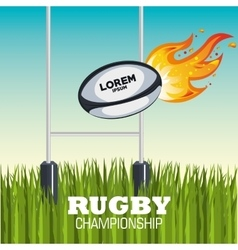 ball rugby flames field design vector image vector image