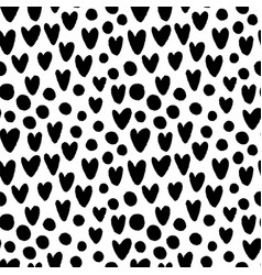 Ink hand drawn hearts and circles seamless pattern vector