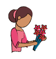 mom with flower decoration vector image vector image