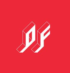2-letter code isometric 3d font for design 0 vector image