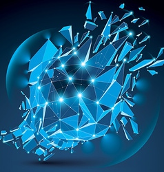 3d clear blue digital wireframe object broken into vector image