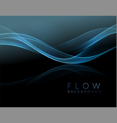 abstract shiny blue wavy design element flow gold vector image