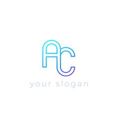 Ac logo line design vector