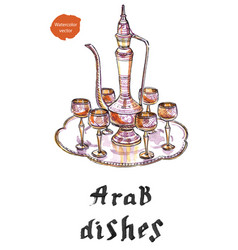 Arab silver dishes vector