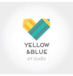 Art design heart yellow and blue pencils abstract vector image