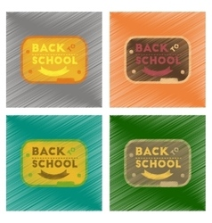 Assembly flat shading style icons back to school vector