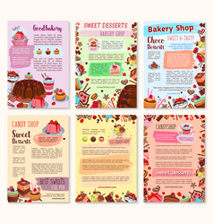 Bakery dessert sweets and ice cream posters vector