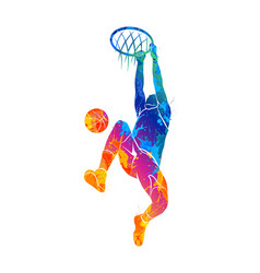 Basketball player ball vector