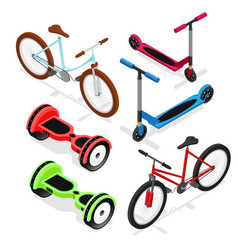 Bike set isometric view vector