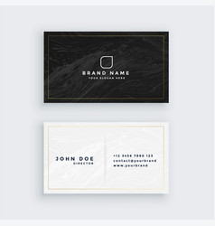 Black and white business card with marble texture vector