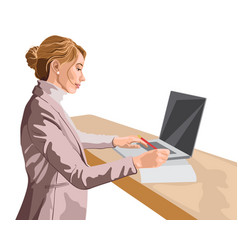 Blonde woman dressed in pink jacket and sweater vector